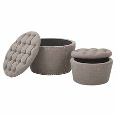 Lacey 2-pc. Tufted Ottoman ($385) ❤ liked on Polyvore featuring home, furniture, ottomans, tufted ottoman, tufted footstool and tufted furniture