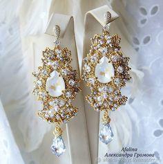 Diamond Earrings, Drop Earrings, Bride Earrings, Beaded Jewelry, Beads, Jewelries, Shibori, Ear Rings, Beading
