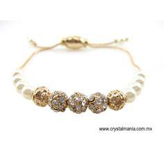 Pulsera dorada ajustable de perlas y bolitas con cristales estilo 50086