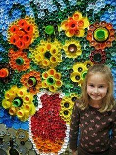 10 idéias de flores com tampinhas de garrafas - Artesanato Reciclagem - Blog com um mundo do reaproveitamento e reciclagem