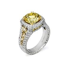4 22ct Fancy Yellow Round Vintage Diamond Ring ...I need this!!