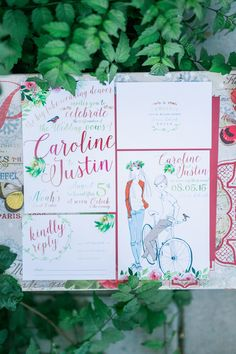 illustrated wedding invitations - photo by Meigan Canfield Photography http://ruffledblog.com/italian-wedding-inspiration-with-pops-of-red