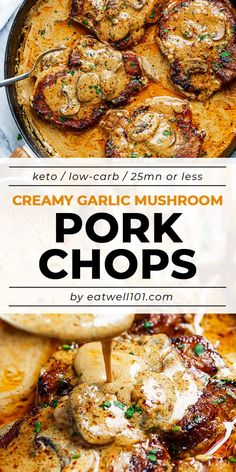 Garlic Pork Chops in Creamy Mushroom Sauce - - A quick dinner with a ton of flavor! Perfect for any night of the week. - by Garlic Pork Chops in Creamy Mushroom Sauce - - A quick dinner with a ton of flavor! Perfect for any night of the week. Meat Recipes, Cooking Recipes, Quick Pork Chop Recipes, Pork Chip Recipes, Pork Cutlet Recipes, Pork Recipes For Dinner, Cooking Bacon, Fun Recipes, Salmon Recipes