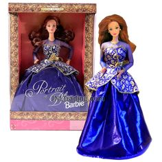 Year 1997 Barbie Exclusive Special Edition 12 Inch Doll - PORTRAIT IN BLUE Barbie with Blue Gown, Shoes, Earrings and Hairbrush Hairbrush, Blue Gown, Barbie Collection, Barbie Dolls, Gowns, Disney Princess, Portrait, Dc Comics, Earrings