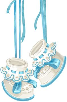 Baby shower card with blue booties and lace [преобразованный].png