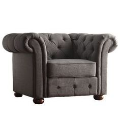 Home Interior Beacon Hill Button Tufted Chesterfield Armchair Chesterfield Armchair, Brown Armchair, Tufted Chair, Wood Arm Chair, Chair Upholstery, Arm Chairs, Grey Chair, Chair Cushions, Accent Furniture