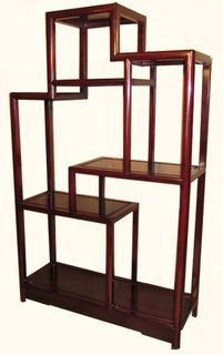 Rosewood Oriental Bookcase Curved Leg Asian Rosewood Chairs And