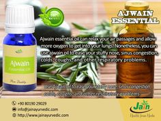 Ajwain essential oil can relax your air passages and allow more oxygen to get into your lungs. Nonetheless, you can use ajwain oil to ease your stuffy nose, sinus congestion, colds, coughs, and other respiratory problems. #jainayurveda, #jainajwainessentialoil, #ajwainessentialoil,#jainhealthstore.