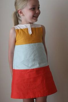 Color block dress - looks cute and easy....what darling girl is going to get this???