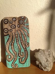 Spotted octopus wood burnt on drift wood ECO art by StonedGypsy, $40.00