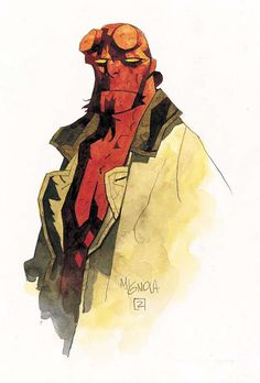 A demon whose true name is Anung Un Rama, #Hellboy was summoned from Hell to Earth as an infant by Nazi occultists (spawning his hatred for them). He was discovered by Professor Trevor Bruttenholm, who formed the US Bureau for Paranormal Research and Defense (BPRD). In time Hellboy grew to be a large, red-skinned demon with a tail, horns (which he files off, leaving behind the signature circular stumps on his forehead), cloven hooves for feet, and an oversized right hand made of stone.