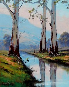 Oil Painting Trees, River Painting, Watercolor Art Paintings, Oil Painting On Canvas, Nature Oil Painting, Portrait Paintings, Painting Abstract, Acrylic Paintings, Painting Art