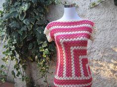 polera cuadros a crochet  hilo acrílico crochet