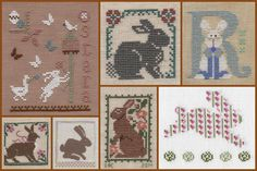 """GG&CSF+April+2015Row #1: The Primitive Hare, """"Ostara""""; The Prairie Schooler, """"Woodland Sampling"""" - """"Rabbit""""; The Cricket Collection, """"Letters Part 3"""" - """"Ribbony Rabbit"""".  Row #2: The Prairie Schooler, """"A Prairie Year"""" - """"April Rabbit""""; Mosey 'n Me, """"Hares Another Rabbit""""; The Prairie Schooler, """"April"""" - """"April Rabbit"""";  JBW Designs, """"The Bunny Collection"""" - """"Striped Flowered Bunny""""."""
