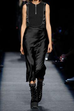 Alexander Wang|Embellished silk-georgette-paneled crepe and satin dress|NET-A-PORTER.COM