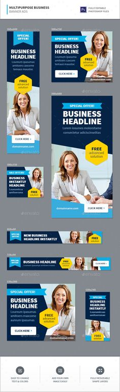 Multipurpose Business Advertisement Banners Template PSD. Download here: https://graphicriver.net/item/multipurpose-business-advertisement-banners/17416727?ref=ksioks