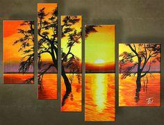 Ručne maľovaný obraz ZÁPAD SLNKA 5 dielny  00 5035FA