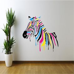 Full Colour Zebra Abstract Animals Wall Sticker Girls Boys Bedroom Lounge Decal Wall Stickers