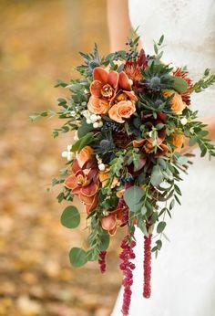 Stunning Autumn Bouquet of Rust Orange & Slate Blue