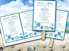 Beach Wedding Fan Microsoft Word Template - Blue Lagoon Teal Turquoise Seashells Bordered Ceremony Program - Outdoor Wedding Program Favor  by PaintTheDayDesigns, $10.00