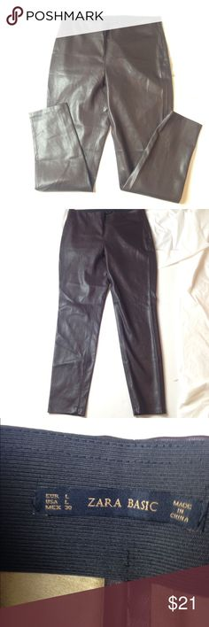 Faux leather legging side skipper leggings Sz L • these pants measures 30 inches in waist.   • The inseam is 30  • The rise is 10 Has stretch room...No stains or marks.  Stored in a clean environment .   Will ship fast.. Zara Pants Leggings