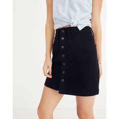 Button-Front Straight Jean Skirt in Black Frost | Madewell size 25