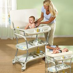 This innovative bath and changing center offers the convenience of a baby bath and portable changing table center all in one.