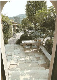 la louve in Provence.  Love the very deep courtyard/gravel patio.
