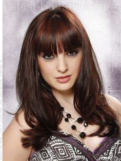 Brunette w/ Red Highlights-really like this color for fall/winter - love the bangs, too!