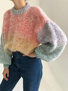 Hand Knitted Sweaters, Wool Sweaters, Knitted Hats, Cotton Sweater, Jumper Outfit, Crochet Wool, Knit Fashion, Knitting Designs, Hand Washing