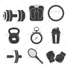 Vector illustration. Fitness icon set