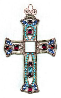 Hanging Cross - Blue and Red  [2301-01] 	$219.00