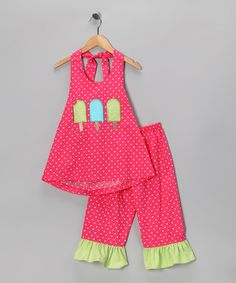 Take a look at this Hot Pink Ice Pop Halter & Capri Pants - Toddler & Girls by Castles & Crowns on #zulily today!
