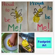 About Me: Footprint Art All About Me Preschool Theme, All About Me Crafts, All About Me Art, All About Me Eyfs, Toddler Themes, Toddler Art, Toddler Crafts, Infant Crafts, Children Crafts