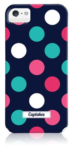 Navy iPhone 6 Case with Multicolored Polka Dots