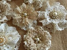 Diy Crafts - 10 shabby chic vintage lace handmade flowers by PinKyJubb on Etsy Cloth Flowers, Paper Flowers Diy, Handmade Flowers, Flower Crafts, Fabric Flowers, Lace Flowers, Shabby Chic Flowers, Shabby Chic Crafts, Vintage Crafts