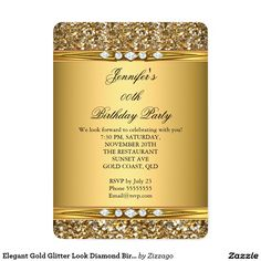 Elegant Gold Glitter Look Diamond Birthday Party 5x7 Paper Invitation Card