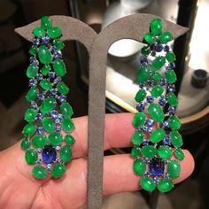 SABBA Jade and Sapphire Ear Pendants #FDGallery #SABBAjewels