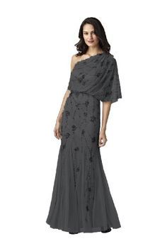 Adrianna Papell  Charcoal One Shoulder