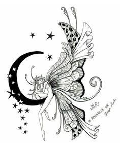 Attractive Fairy On Half Moon With Stars Tattoo Design By Raknarok
