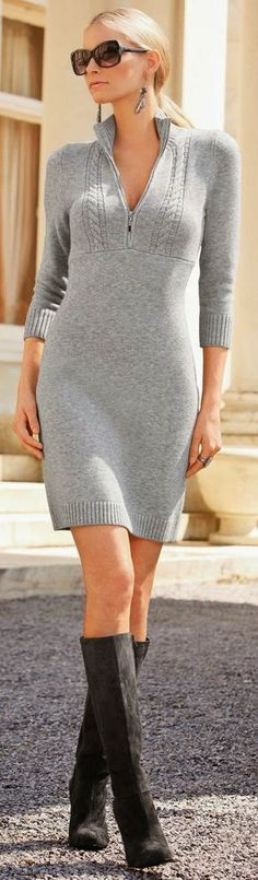 Knitting Patterns Sweaters Street look in light shades of gray (passport numbers 2 and Kerstin Tomancok / Image Consultant Grey Sweater Dress, Knit Dress, Sweater Dresses, Sweater Boots, Gray Dress, Street Look, Street Style, Look Fashion, Womens Fashion