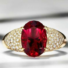 GABRIELLE'S AMAZING FANTASY CLOSET | Kat Florence Ruby and Diamond Pave Ring, 18k Yellow Gold