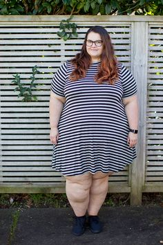 45fe30179d5 New Zealand plus size fashion blogger This is Meagan Kerr wears Yours  Clothing grey striped turtleneck swing dress