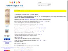 Handwriting for Kids website -  how to teach, sample sheets, order of letters to teach