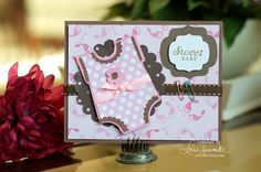 Lorries Story: Baby Shower Card with Silhouette Cameo - Pink & Brown
