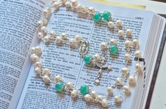 Freshwater Pearl and Marbled Aqua Glass Bead Rosary with Vintage Silver Our Lady of Knock Center