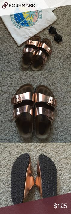 Birkenstock copper In great condition, only worn these briefly once. Finding they don't fit quite right. Minor flaws- picture #4 ⚡️open to any reasonable offers⚡️This shiny metallic copper sandal from Birkenstock features a contoured cork footbed with an added layer of foam for cushioning. Designed to support and conform to all arches of the foot, this must-have style ensures a custom fit you'll love. Under 1-in. heel Buckle strap closure Contoured cork footbed Leather Imported Birkenstock…