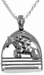 "Silver jumper featured inside a stirrup.  What a great gift for the jumper in your family.  The pendant measures approximately 1"" x 3/4"".  Made of .925 sterling silver with spring clasp.  Our high quality silver equine jewelry is priced at an exceptional value so you can confidently add to your jewelry collection.   http://www.bainbridgeandcompany.com/Sterling-Silver-Jumper-Necklace-p/60184005.htm"