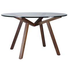 ORIGINAL DESIGN SEAN DIX FORTE ROUND GLASS DINING TABLE - Matt Blatt