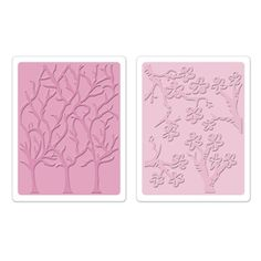 Sizzix Textured Impressions Embossing Folders 2PK - Cherry Blossoms & Trees Set $10.99